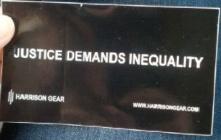 "Harrison Gear ""Justice Demands Inequality"" Sticker"
